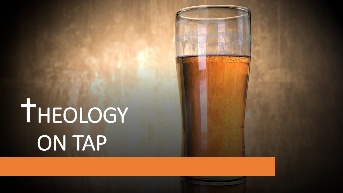 beer glass with the words theology on tap